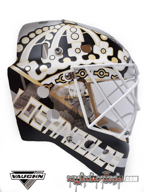 <p>50th anniversary mask with a Rogie Vachon tribute.</p>