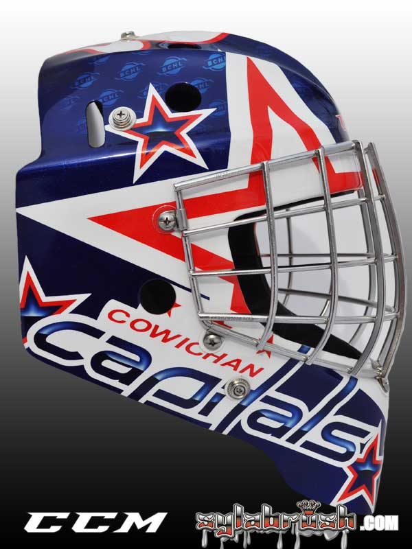 <p>The design was inspired by Wayne Stephenson's Washington Capitals mask.</p>